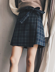 Women's A Line Plaid Skirts,Going out / Casual/Daily Simple / Street chic High Rise Mini Zipper Polyester Inelastic Spring / Summer
