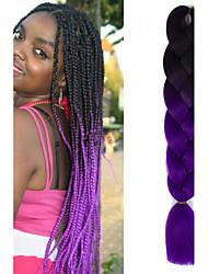 """pretas roxo escuro ombre crochet 24"""" yaki kanekalon 2 tom tranças jumbo cabelo sintético 100g"""