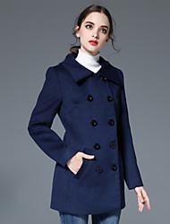 Damen Solide Einfach Lässig/Alltäglich Mantel,Herbst / Winter Gekerbtes Revers Langarm Blau / Beige Wolle