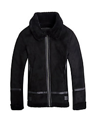 Men's Beach / Party/Cocktail / Holiday Sexy / Simple / Cute Jackets,Solid Peter Pan Collar Long Sleeve Fall / Winter Black Lambskin Medium