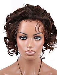 chaud 10-14 pouces avant de dentelle brazilian remy vierge de cheveux humains court bouclés perruque bob avant avec des cheveux de bébé