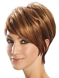 Capless Short Bobo Side Bang Kinky Straight Synthetic Wigs for Women Brown Heat Resistant with Free Hair Net