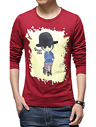 Men's Fashion Slim Villain Printing Long Sleeved T-Shirt Print Round Neck Long Sleeve Blue / Red / White / Black / GrayCotton /