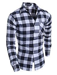 Men's Formal Simple / Street chic Fall / Winter Shirt,Check Shirt Collar Long Sleeve Gray Cotton Medium