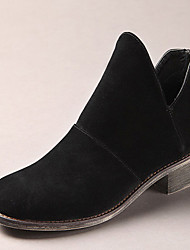 Women's Boots Winter Suede Casual Black Dark Brown