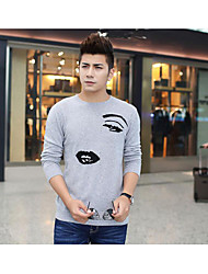 Men's Casual/Daily Simple Regular Cashmere,Print Beige / Gray Round Neck Long Sleeve Cashmere Fall / Winter Medium Micro-elastic