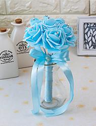 """Fleurs de mariage Rond Roses Bouquets Mariage La Fête / soirée Satin Mousse 3.94""""(Env.10cm)"""