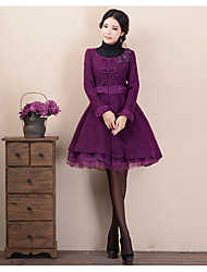 Women's Going out / Casual/Daily Sophisticated Coat,Polka Dot Round Neck Long Sleeve Fall / Winter Purple Wool Thick
