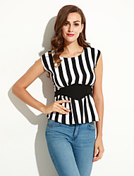 Women's Striped Black T-shirt,Round Neck Short Sleeve