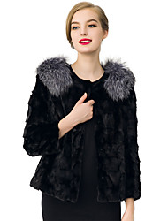 Women's Going out / Casual/Daily / Holiday Vintage / Simple / Street chic Jackets,Solid Round Neck Long Sleeve Spring / Fall Black / Gray
