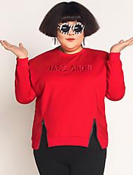 Normal Hoodies Femme Décontracté / Quotidien / Grandes Tailles simple,Lettre Rouge Col Arrondi Manches Longues Spandex / Autres Hiver