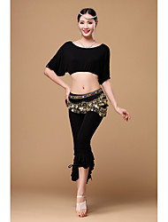 Belly Dance Outfits Women's Training Viscose Sequins 3 Pieces Short Sleeve Dropped Top / Hip Scarf / Pants
