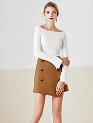 Mujer Regular Pullover Casual/Diario Simple,Un Color Azul Blanco Escote Barco Manga Larga Algodón Primavera Medio Microelástico