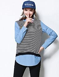 Chemise Femme,Rayé Décontracté / Quotidien / Grandes Tailles simple Automne Manches Longues Col de Chemise Noir Coton / Spandex Moyen
