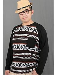 Herren Geometrisch Einfach Lässig/Alltäglich T-shirt,Rundhalsausschnitt Langarm Schwarz Baumwolle Mittel