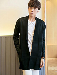 Men's Going out Vintage Long Cardigan,Solid Red / Black / Brown / Gray Halter Long Sleeve Cotton Spring Medium Micro-elastic