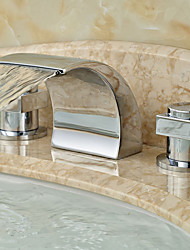 Country Widespread Waterfall with  Ceramic Valve Two Handles Three Holes for  Chrome , Bathroom Sink Faucet