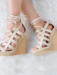 Damen-Sandalen-Lässig / Party & Festivität-Kunstleder-Blockabsatz-Passende Schuhe & Taschen-Beige