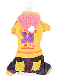 Dog Clothes/Jumpsuit Red / Yellow Dog Clothes Winter / Spring/Fall Letter & Number Keep Warm