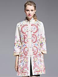 Ample Robe Femme Décontracté / Quotidien Chinoiserie,Broderie Col Roulé Au dessus du genou ½ Manches Blanc Polyester Automne Taille Haute