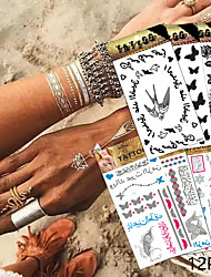 12 Tattoo Stickers Jewelry Series / Animal Series / Flower Series / Totem Series / Others / Cartoon Series / Romantic SeriesNon Toxic /