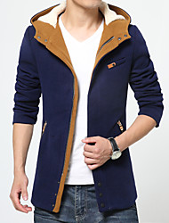 Men's Going out / Party/Cocktail Vintage / Street chic Trench Coat,Solid Hooded Sleeveless All Seasons Blue Wool Medium