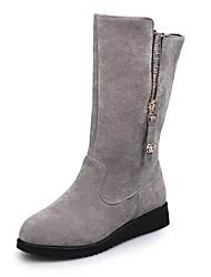 Women's Boots Winter British Style Comfort Slip Resistant Suede / Glitter Dress / Casual Low Heel Zipper