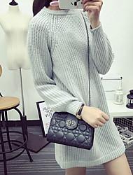 Damen Standard Pullover-Ausgehen / Lässig/Alltäglich Einfach / Niedlich Solide Beige / Grau / Lila Rundhalsausschnitt Langarm Acryl Herbst