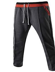 Masculino Skinny Chinos / Calças Esportivas Calças-Cor Única Casual / Trabalho Simples Cintura Média Com Cordão Algodão Micro-ElásticoCom