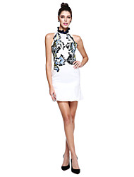 TS Couture® Cocktail Party Dress Sheath / Column High Neck Short / Mini Mikado with Embroidery