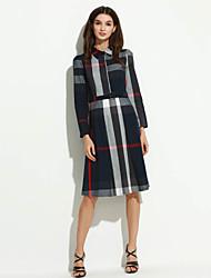Robe Aux femmes Grandes Tailles Vintage / Travail , Géométrique Col de Chemise Mi-long Coton