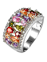 Stylish Minimalist Zircon Ring Simulation Jewelry Multi Color Colorful Zircon Ring