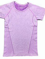 Corrida Camiseta Mulheres Manga Curta Respirável / Secagem Rápida / Confortável Náilon Chinês Ioga / Pesca / Esportes Relaxantes / Corrida