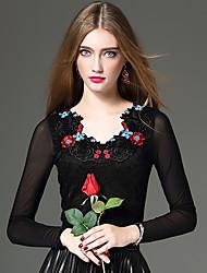 Feminino Camiseta Informal / Casual / Formal Sensual / Temática Asiática / Sofisticado Outono / Inverno,Bordado PretoAlgodão / Poliéster