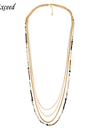 Brand High Quality Vintage Multi Stranded Chain Sparkly Crystal Glass Beads 4 Layer Necklace For Women NL151205