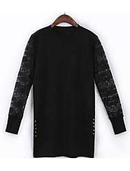 Damen Standard Pullover-Ausgehen Retro Solide Schwarz Grau Lila Rundhalsausschnitt Langarm Baumwolle Frühling Mittel Mikro-elastisch