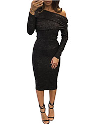 Women's Sexy Spring / Fall T-shirt Skirt SuitsSolid Boat Neck Long Sleeve Blouse & Bodycon Midi Skirt