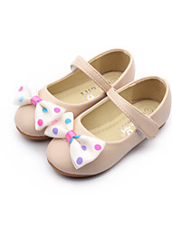 Flats Spring Fall Other Comfort Light Up Shoes Leatherette Dress Casual Flat Heel Bowknot Magic Tape Pink Beige Other