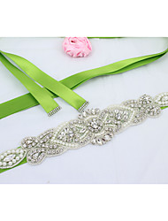Satin Wedding / Party/ Evening / Dailywear Sash-Beading / Rhinestone / Imitation Pearl Women's 98 ½in(250cm)Beading / Rhinestone /