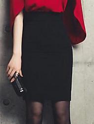 Damen Röcke,A-Linie einfarbigLässig/Alltäglich Mittlere Hüfthöhe Mini Elastizität Baumwolle Micro-elastisch Herbst