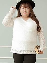 Tee-shirt Femme,Couleur Pleine Grandes Tailles simple Automne Manches Longues Col en V Blanc / Noir Nylon / Spandex