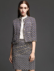 Women's Casual/Daily Simple Skirt Suits,Print Round Neck Long Sleeve Gray Polyester Medium