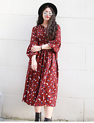 Nininiu  Women's Plus Size / Casual/Daily Simple Chiffon DressFloral Stand Knee-length Long Sleeve Red Polyester Spring / Fall High Rise