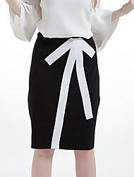 Damen Röcke,A-Linie einfarbigLässig/Alltäglich Mittlere Hüfthöhe Knielänge Elastizität Wolle Micro-elastisch Winter