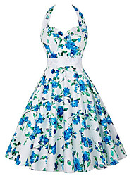 Women's Casual/Daily / Cute A Line / Skater Dress Floral Halter Backless Above Knee Sleeveless with Belt Bow  White Polyester Pleated Vintage Dresses