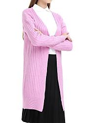 Женский На каждый день Рубашка Круглый вырез,Простое С принтом Розовый / Серый / Зеленый / Желтый Длинный рукав,Другое