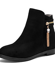 Women's Frosted Round Closed Toe Solid Low Top Low Heels Boots