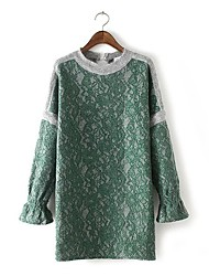 Women's Casual/Daily Simple Lace Dress,Patchwork Round Neck Above Knee Long Sleeve Pink / Green Rabbit Fur Spring Mid Rise Micro-elastic