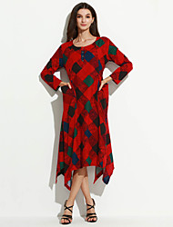 Women's Casual Ethnic Print Loose /Swing Dress,Check Asymmetrical Long Sleeve Red Cotton / Linen Spring /Fall