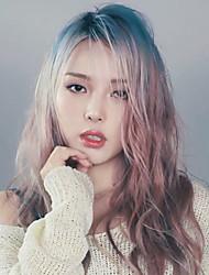 корейская makeu художник пони красоты дневник ломбера волосы длинные волны тела косплей синего до brwon тепла градиент цвета волос девушки